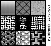 seamless set fabric pattern | Shutterstock .eps vector #217364035