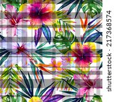 Tropical Jungle Flowers With...