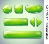 set of green glossy buttons ...
