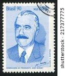 brazil   circa 1990  stamp... | Shutterstock . vector #217377775