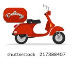 red delivery scooter vintage... | Shutterstock .eps vector #217388407