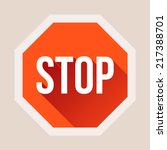 stop sign with long shadow in... | Shutterstock .eps vector #217388701