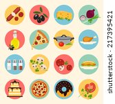 food icons set. vegetables... | Shutterstock .eps vector #217395421