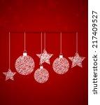 vector christmas balls on a red ... | Shutterstock .eps vector #217409527