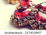 handmade red earrings with... | Shutterstock . vector #217413907