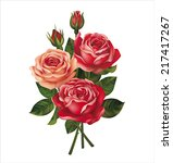 Roses Bouquet On White. Vector...