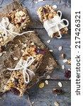 homemade rustic granola bars... | Shutterstock . vector #217426321