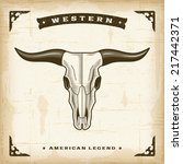 vintage western bull skull.... | Shutterstock .eps vector #217442371