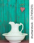 Antique White Water Pitcher An...
