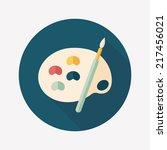 art palette with paint brush...   Shutterstock .eps vector #217456021