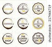 set of vintage retro coffee... | Shutterstock .eps vector #217466719