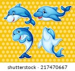 illustration of dolphin with... | Shutterstock .eps vector #217470667