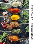 herbs and spices selection ... | Shutterstock . vector #217479319