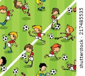 Pattern Seamless Football Kids