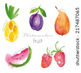 watercolor fruit set. eps 10.... | Shutterstock .eps vector #217487065