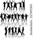 dancing silhouettes | Shutterstock .eps vector #217491541