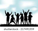 children silhouettes   Shutterstock .eps vector #217491559