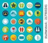 set of summer tourism icons | Shutterstock . vector #217503241