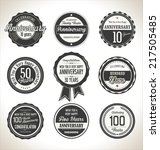 anniversary retro labels... | Shutterstock .eps vector #217505485