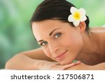 beautiful brunette relaxing on... | Shutterstock . vector #217506871