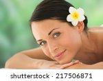 beautiful brunette relaxing on...   Shutterstock . vector #217506871
