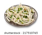 spaghetti with onion on a plate ... | Shutterstock . vector #217510765