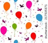 seamless   multicolor balloons... | Shutterstock .eps vector #217535371