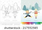 coloring book  boy and girl  ... | Shutterstock .eps vector #217552585