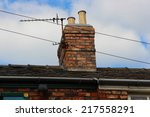 chimney  ariel and wires on...