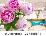 Bouquet Of Fresh Pink  Peonies...