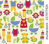 set of baby shower elements ... | Shutterstock .eps vector #217577524