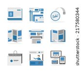 flat icons set of marketing... | Shutterstock .eps vector #217580344