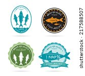 set of vector an fish label on... | Shutterstock .eps vector #217588507