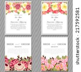 wedding invitation cards with... | Shutterstock .eps vector #217592581