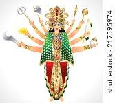 vector illustration godess durga   Shutterstock .eps vector #217595974