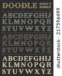 doodle vector font family 8 on...   Shutterstock .eps vector #217596499