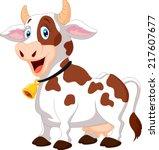 happy cartoon cow   Shutterstock .eps vector #217607677