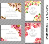 set of invitations with floral... | Shutterstock .eps vector #217609849