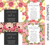 set of invitations with floral... | Shutterstock .eps vector #217609921