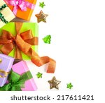 gift boxes with bows on white... | Shutterstock . vector #217611421