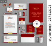 red classic stationery template ... | Shutterstock .eps vector #217613125