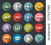 aviation icon set | Shutterstock .eps vector #217617481
