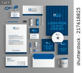 blue stationery template design ... | Shutterstock .eps vector #217618825