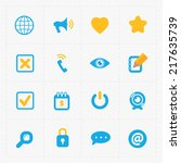 colorful flat social icons set... | Shutterstock .eps vector #217635739