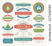 christmas decoration vector... | Shutterstock .eps vector #217636585