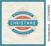 christmas retro typography and... | Shutterstock .eps vector #217638481