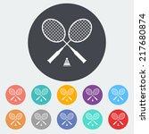badminton. single flat icon on...   Shutterstock .eps vector #217680874
