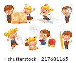 back to school. pupils read the ... | Shutterstock .eps vector #217681165