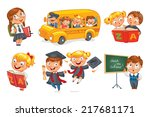 back to school. pupils in... | Shutterstock .eps vector #217681171