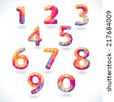 numbers set in modern polygonal ... | Shutterstock .eps vector #217684009
